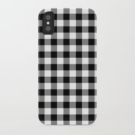 90's Buffalo Check Plaid in Black and White iPhone Case
