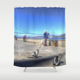 Fishermen And Cats Istanbul Shower Curtain