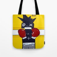 basquiat Tote Bags featuring Boxer Basquiat by TheArtGoon