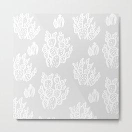 Prickly Pear Grey Cacti Metal Print