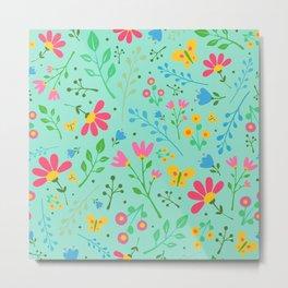 Flower Dance Aqua Metal Print