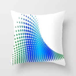 Glitch in the Dot Matrix (Blue) Throw Pillow