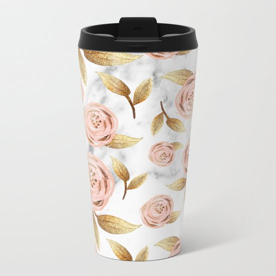 Blushing blooms Metal Travel Mug