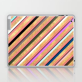 Abstract geometrical colorful gold glitter stripes Laptop & iPad Skin