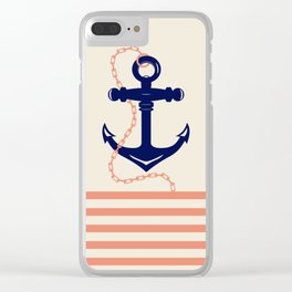 AFE Navy Anchor and Chain Clear iPhone Case