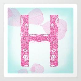 Floral Letter 'H' Art Print
