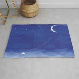 Follow the moon, watercolor blue ocean sea sailboat Rug