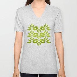 """Summer Fresh Green Garden Burlap Texture"" Unisex V-Neck"