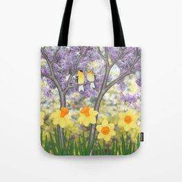 goldfinches, lilacs, & daffodils Tote Bag
