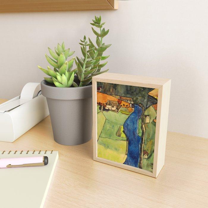 """Egon Schiele """"Stadt am blauen Fluss (Town on the blue river)"""" Framed Mini Art Print"""