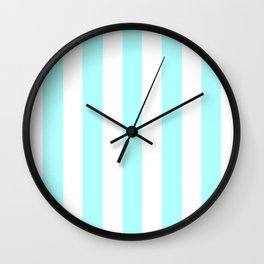 Celeste heavenly - solid color - white vertical lines pattern Wall Clock