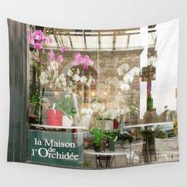 Paris Flower Shop Window Wall Tapestry