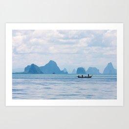 Two men in a boat fishing in Phang Nga Bay, Phuket, Thailand Art Print