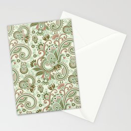 Oriental Persian Paisley, Swirls - Green Pink Stationery Cards