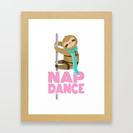 Funny Nap Dance Neon Sign Cute Sloth Pole Dancer Framed Art Print