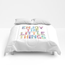 Enjoy the Little Things Watercolor Rainbow Design Inspirational Quote bedroom Wall Art Home Decor Comforters