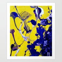 Ultra Violet Blue Yellow Abstract Paint Art Print
