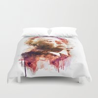 hitchcock Duvet Covers featuring ALFRED HITCHCOCK by Elizabeth Cakovan