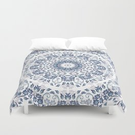 Grayish Blue White Flowers Mandala Duvet Cover