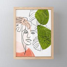 woman plant line art minimal Framed Mini Art Print
