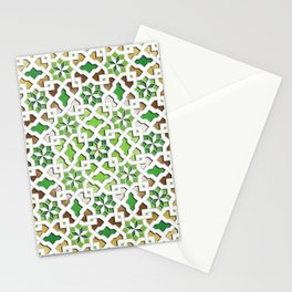 oriental pattern for Kris 3 - brown, green, white  Stationery Cards
