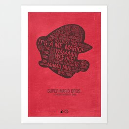 Super Mario Typography Art Print