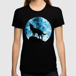 Howling Winter Wolf snowy blue smoke T-shirt