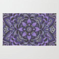 Purple and Black Flower Rug