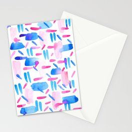 Blue Pink Diagonal Plaid Stationery Cards