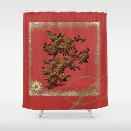 Golden flower on red Shower Curtain