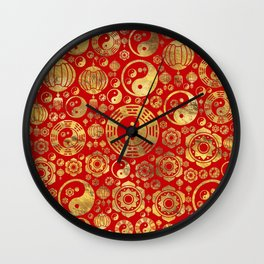 The Bagua -Pa Kua and Chinese lucky symbols pattern Wall Clock