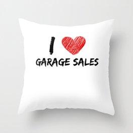 I Love Garage Sales Throw Pillow