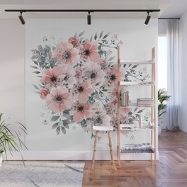 Watercolor Flower, Blush Pink and Gray, Floral Prints Wall Mural