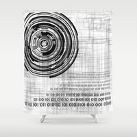 techno Shower Curtains featuring Techno data ring #1 by Juliana RW