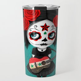 Day of the Dead Girl Playing Syrian Flag Guitar Travel Mug
