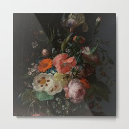 Rachel Ruysch - Still life with flowers on a marble tabletop (1716) Metal Print