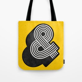 Ampersand black and white and yellow 3D typography design minimalist home decor wall decor Tote Bag