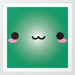 Kawaii Face (Green) Art Print