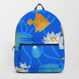 Tangram goldfish and water lilies in blue Backpack