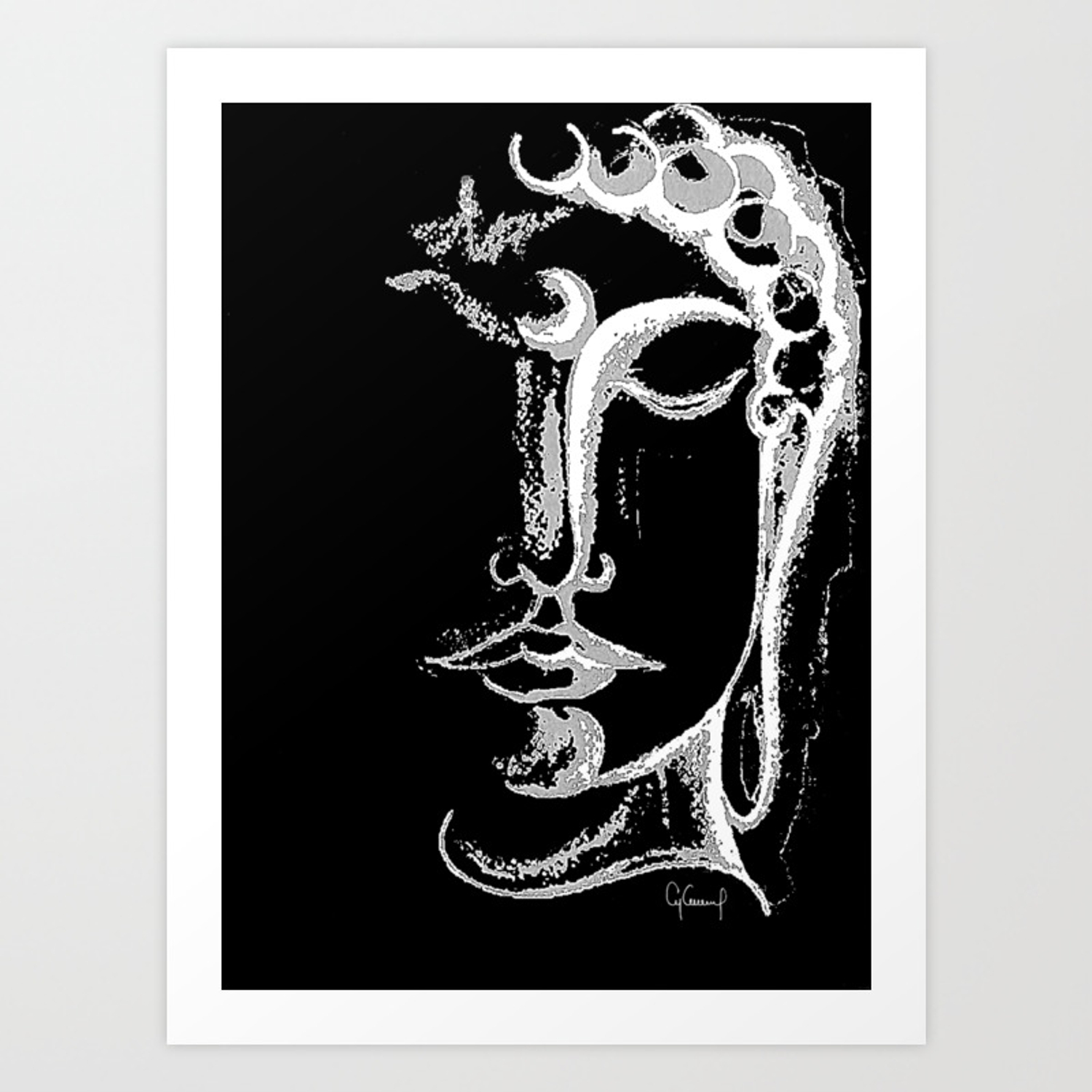 Black white buddha illustration art print