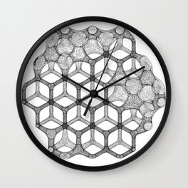 GEOMETRIC NATURE: COGNITIVE HEXAGON w/b Wall Clock