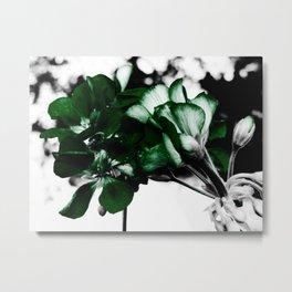 Green Flowers In Bloom:  Pop of Color Metal Print