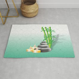 Meditation stones, bamboo and candles Rug