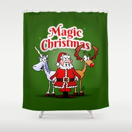 Magic Christmas with a unicorn Shower Curtain