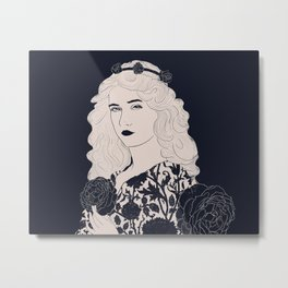 Victorian woman with black roses Metal Print