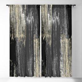 Abstract modern black gray gold glitter brushstrokes Blackout Curtain