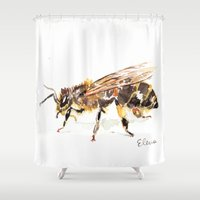 bee Shower Curtains featuring Bee by Elena Sandovici