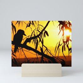 Kookaburra Silhouette Solstice Sunset Mini Art Print