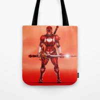 power ranger Tote Bags featuring Red Ranger by Isaiah K. Stephens