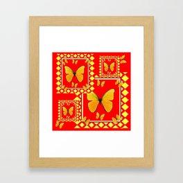 YELLOW BUTTERFLIES RED-YELLOW  PATTERNED  ART Framed Art Print